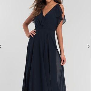 Jenny Yoo Cassie Long Navy Dress